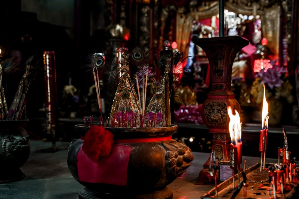 Incense sticks in old chinese temple. Asian traditional culture in shrine