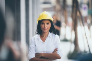 Portrait of a female engineer manager, business people in construction project